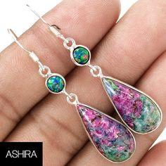 """Ashira Drop Dangle Gemstone Earrings Trendy Unique, Sterling Silver Ruby in Fuchsite (Green Muscovite) & Fire Opal 2"""""""