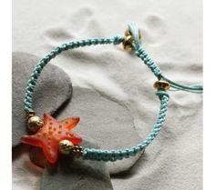 Orange Starfish Friendship Bracelet with Starfish Handmade Glass Bead (Czech Republic) - kit à venda na loja BijouxBeads