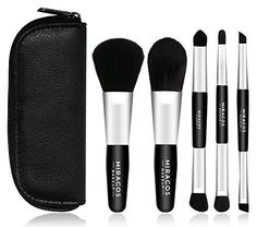 Miracos Makeup Portable Mini Face Makeup Brushes Kit with Travel Case 5 Pcs - Synthetic Hair, White Sigma Makeup Brushes, Diy Makeup Brush, Best Makeup Brushes, It Cosmetics Brushes, Makeup Kit, Makeup Cosmetics, Best Makeup Products, Makeup Tools, Beauty Makeup