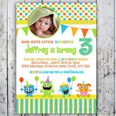little monster invitations Monster theme party Pinterest Shops