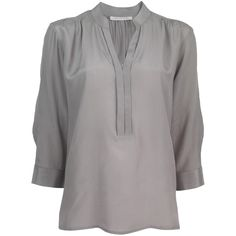 Century Seven Tuck Blouse (€160) ❤ liked on Polyvore featuring tops, blouses, shirts, long sleeves, blusas, grey, extra long sleeve shirts, grey long sleeve shirt, gray top and long sleeve shirts