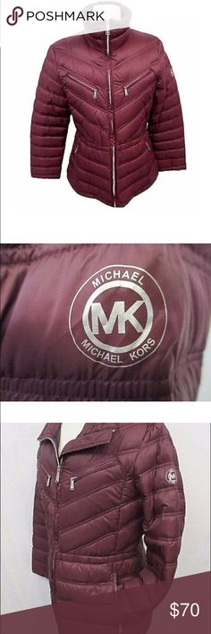 Michael Kors puffer coat Wine color. Size Small comes with packable bag Michael Kors Jackets & Coats Puffers