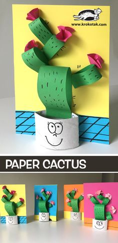 Paper+Cactus lama kunst, toddler crafts, preschool crafts, paper crafts for kids Easy Paper Crafts, Paper Crafts For Kids, Diy Paper, Paper Crafting, Diy For Kids, Fun Crafts, Diy And Crafts, Kids Fun, Cactus Craft