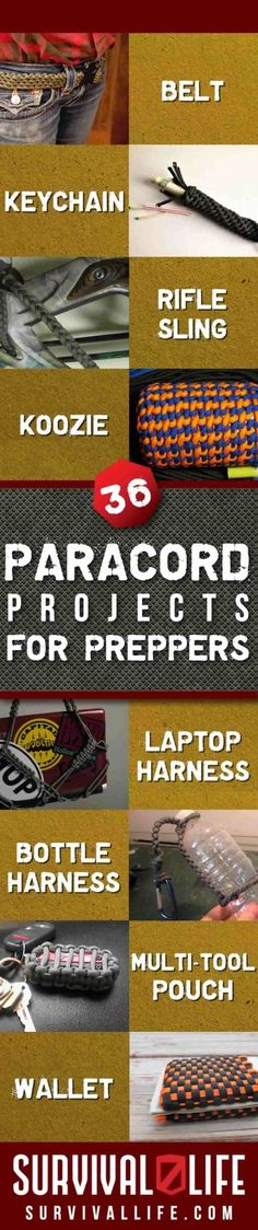 36 Paracord Projects for Preppers DIY Prepping Ideas by Survival Life Survival Life, Wilderness Survival, Survival Tools, Survival Prepping, Emergency Preparedness, Survival Equipment, Survival Items, Survival Weapons, Survival Hacks