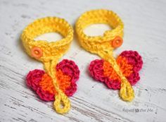 repeat after me crochet babies crocheted butterfly sandles pattern | Repeat Crafter Me: Crochet Butterfly Barefoot Sandals