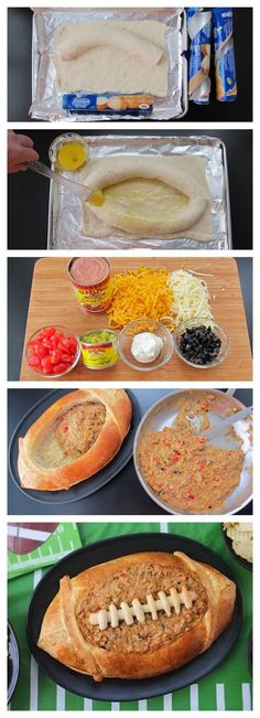 Taco Bean Dip in a Football Bread Bowl - use 3 tubes of Pillsbury Crusty French Loaf Bread Dough to make a large football shaped bread dough. After it's baked, fill it with your favorite dip.