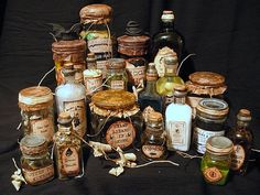 Halloween Apothecary jars with links to downloadable labels to print!