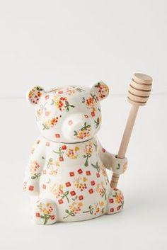 Floral Bear Honey Pot by Anthropologie in Assorted, Kitchen Cute Kitchen, Kitchen Items, Kitchen Gadgets, Kitchen Utensils, Kitchen Gifts, Kitchen Tools, Kitchen Dining, Flora Und Fauna, Diy Kit