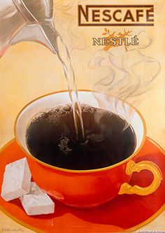 size: Giclee Print: Nescafe - Nestle - Instant Coffee by Viktor Rutz : This exceptional art print was made using a sophisticated giclée printing process, which deliver pure, rich color and remarkable detail. Vintage Advertising Posters, Vintage Advertisements, Vintage Ads, Vintage Posters, Coffee Advertising, Retro Ads, Vintage Stuff, Vintage Signs, Coffee Love