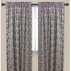 Juliette Curtain Panel. Black Flocked On White With Teal. Machine Washable.  84,