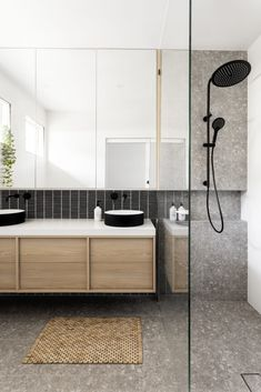 Dark joinery and pops of terrazzo steal the show in this modern home makeover. Black kitkat tile with terrazzo grey tile and white wall tile, large mirrored cabinet in bathroom, floating timber vanity, black tapware Grey Bathroom Tiles, Grey Bathrooms, Bathroom Colors, Bathroom Sets, Bathroom Flooring, Small Bathroom, Master Bathroom, Timber Bathroom Vanities, Modern Bathroom Cabinets