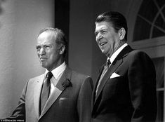 Flashback: President Ronald Reagan, right, and Canadian Prime Minister Pierre Trudeau stan...