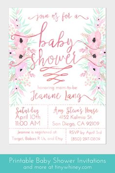 Pale pink baby shower invitations | baby shower printables | custom baby shower invitations