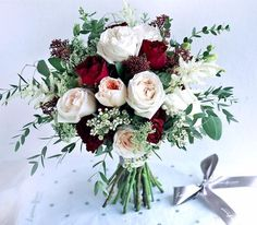 Blush and Burgundy Wedding Bouquet // bride, bridal, bridesmaids, wedding party, winter, rustic, fall
