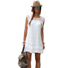 White Lace Beach Dress //Price: $13.99 & FREE Shipping // #hashtag3