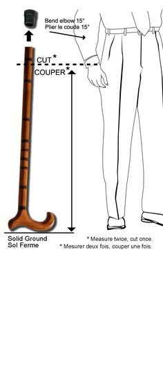 "measuring cane.jpg ~ My ""new"" cane felt too short so I went to the web! This links to a fantastic article for how to size walking sticks and canes!"