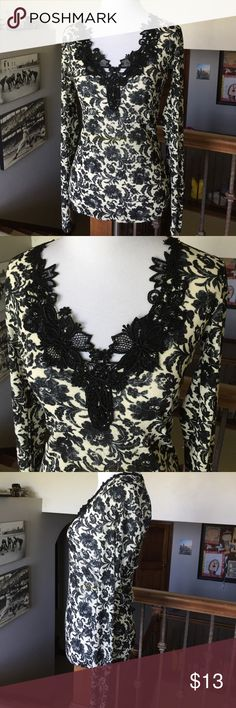 """Karen Kane Boho Top Gorgeous lightweight slightly Sheer long sleeve with beautiful embroidery work at at VNeck. 16""""L from underarm to hem. Size Small. Mannequin size 2/4. Black/off white. Karen Kane Tops Tees - Long Sleeve"""