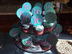 Ombré cakes with two tone icing for a sweet 16