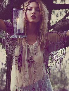 ☮ American Hippie Bohemian Style ~ Boho Summer Lace Web Top!