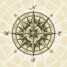 Vintage Nautical Compass Rose EPS