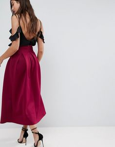ASOS Scuba Midaxi Skirt with Crossover Waistband - Red