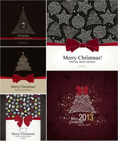 """Set of 5 vector Christmas menu cover designs for your holiday cafe or restaurant menus, decorated with red bows, stylized Christmas tree and some ornaments. Format: EPS stock vector clip art and illustrations. Free for download. Set name: """"Christmas menu…"""