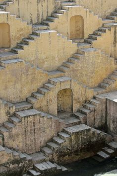 Well of Chand Baori, India. Thirty metres deep, thirteen floors, 3500 steps.