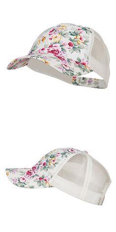 794320d4725 Floral Print Mesh Trucker Cap - White OSFM