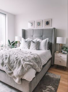 Grey and Beige Bedroom Beautiful Bedroom Nyc Bedroom tour Grey Bed Frame Dove Bedding with Grey Bedroom Decor, Room Ideas Bedroom, Home Bedroom, Bedroom Neutral, Bedroom Beach, Rustic Grey Bedroom, White Gray Bedroom, Grey And White Bedding, Bedroom Signs