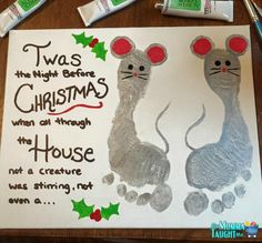 Twas the Night Before Christmas Mouse Foot Print Wall Art - My Momma Taught Me Christmas Paintings On Canvas, Holiday Canvas, Christmas Crafts For Toddlers, Toddler Christmas, Diy Christmas Gifts, Holiday Crafts, 1st Christmas, Toddler Canvas Art, Toddler Art