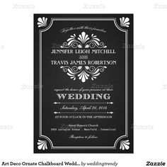 Art Deco Ornate Chalkboard Wedding Invitations
