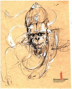 Monday, December 21, 2015  Daily drawings of Hanuman / Hanuman TODAY / Connecting with Hanuman through art / Artwork by Petr Budil [Pritam] www.hanuman.today