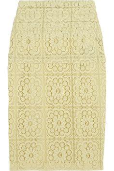 Burberry Prorsum cotton-blend lace pencil skirt