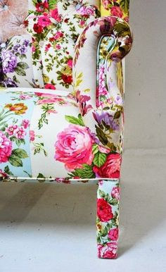 Floral Patterned Upholstery | Love the upholstered legs. | Home Accessories and Furnishings