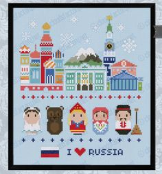 Russia icons - Mini people around the world