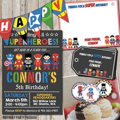 Superhero birthday PARTY PACKAGE personalized for your party - digital / printable DIY superhero invitation, card, tag, toppers, & banner by NiteLiteDesign on Etsy https://www.etsy.com/listing/260190974/superhero-birthday-party-package