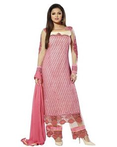 #Attractive #Pink & #Off-White Colored #Embroidered  #Salwar Kameez