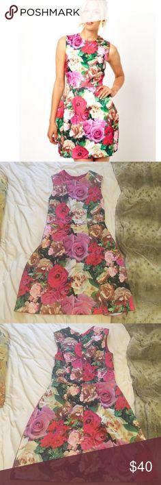 Floral print Tulip Skirt Rose Printed Silky Dress Worn once ASOS Dresses Mini
