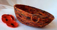 Autumn Fall Bowl Handmade Fiber Basket Autumn by WexfordTreasures, $16.99