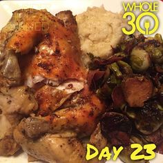 """Dinner was sooooo good. Mashed cauliflower, balsamic Brussels sprouts with prosciutto, and my roast chicken. Excuse the messy chicken pieces - it was so well done that it was falling off the bone and hard to plate! #whole30 #whole100 #CTLTwhole100 #whole30homies #2015IGwhole30 #eatrealfood #cleaneating #jerf #healthy #mealideas #paleo #recipe #blog #considertheleafTURNED #day23"" Photo taken by @considertheleafturned on Instagram, pinned via the InstaPin iOS App! http://www.instapinapp.com…"