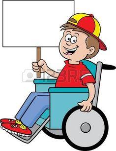 handicaps: Ilustración de dibujos animados de un niño en una silla de ruedas con un cartel