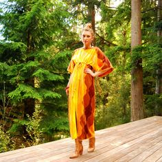 Here Comes The Sun 70s Terry Cloth Dress, Velour Sunshine Maxi Dress One Size Beach Caftan Kaftan Yellow Orange Psychedelic Lounge Vacation by SurfandtheCity