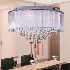 Lámpara Chandelier de Cristal de Tela con 8 Bombillas - BUCKS 2017 - $227107