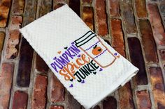 """Decorate your Kitchen in style with this Fabulously Funny Kitchen Towel. Proudly proclaim """"Pumpkin Spice Junkie"""" with this cute embroidered towel. The towel is an Ivory cotton basket weave and me Kitchen Humor, Funny Kitchen, Embroidered Towels, Halloween Quotes, Decorative Towels, Christmas Kitchen, Kitchen Towels, Basket Weaving, Pumpkin Spice"""