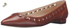 Nine West Women's Adaminia Leather Pointed Toe Flat, Cognac, 9 M US - Nine west flats for women (*Amazon Partner-Link)