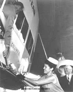 """Jacquelyn Mayer Christening the Goodyear Blimp """"Columbia,"""" 1963. She was from Sandusky, Ohio and won the titles of Miss Vacationland and Miss Ohio to qualify for the Miss America pageant. She won the Miss America pageant in 1962 and served as Miss America 1963."""