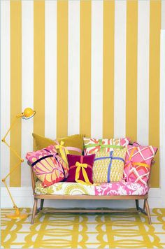 Take inspiration from this BOLD and BRIGHT color and pattern combo for your foyer, girl's bedroom or craft room.