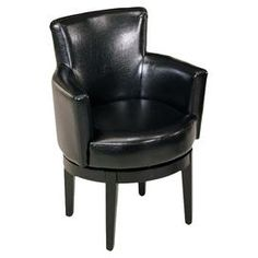 Swiveling club chair.Product: Club chair    Construction Material: 100% Leather upholstery and wood  Color: Black   Features:   360 Degree swivel Pireeli webbing Thick padding California fire retardant rated         Dimensions: 34 H x 25 W x 25 D