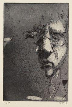 Horst Janssen (1929-1995), Selbstporträt. Radierung, Aquatinta