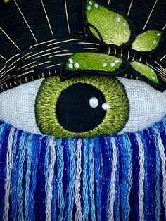 #embroidery #3dembroidery #stumpwork #stumpworkembroidery #stitching #handstitched #embroideryartist #embroideryart #modernembroidery #contemporaryembroidery Contemporary Embroidery, Modern Embroidery, Embroidery Art, Butterfly Eyes, Eye Details, Hand Stitching, Bts, Wreaths, Halloween